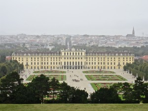 Schonbrunn with Vienna Background